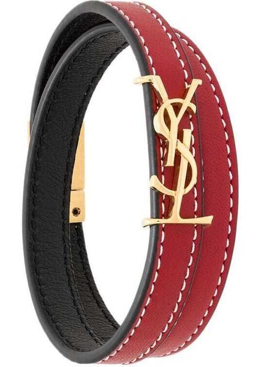 Saint Laurent Leather Bracelet RED