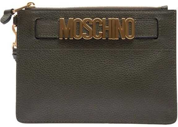 Moschino A841280030440 Leather Clutch GREEN