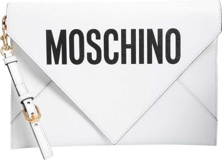 Moschino A841480011001 Leather Clutch WHITE