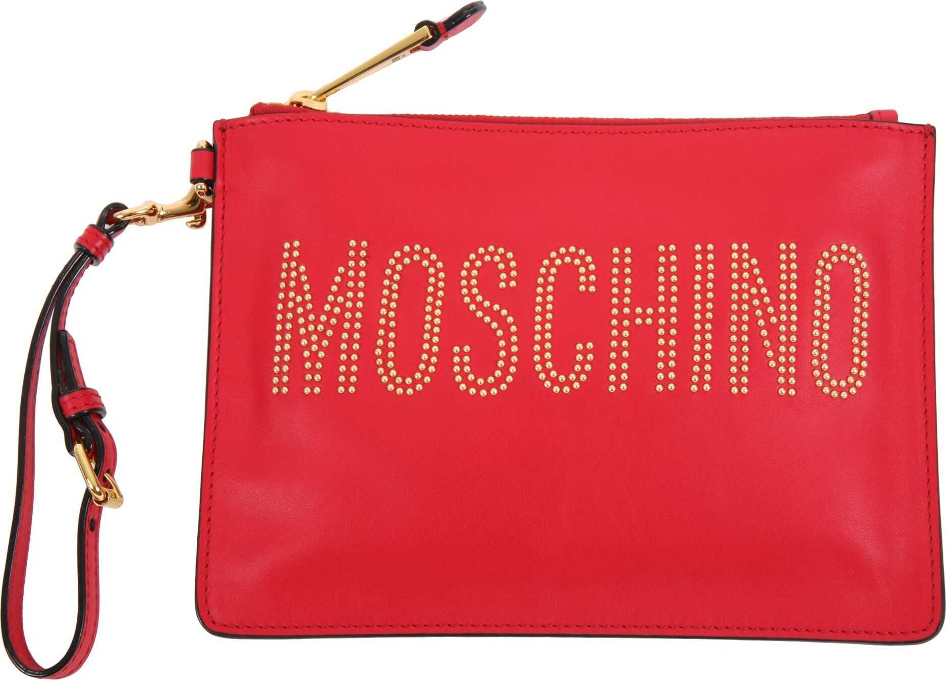 Moschino A84158001115 Leather Clutch RED