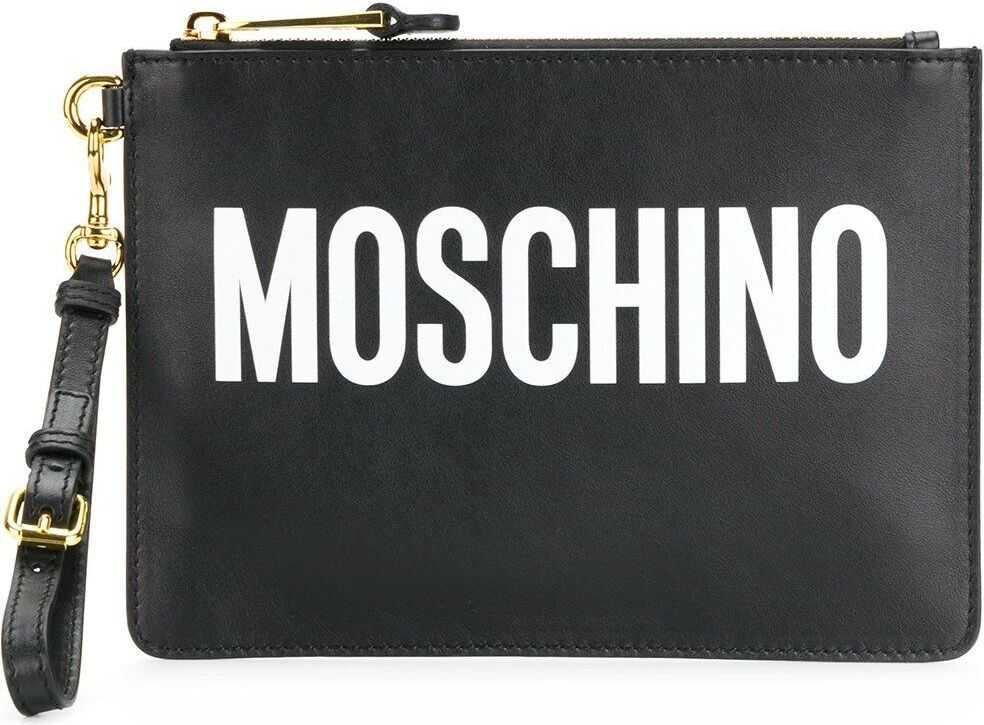 Moschino A841580011555 Leather Clutch BLACK