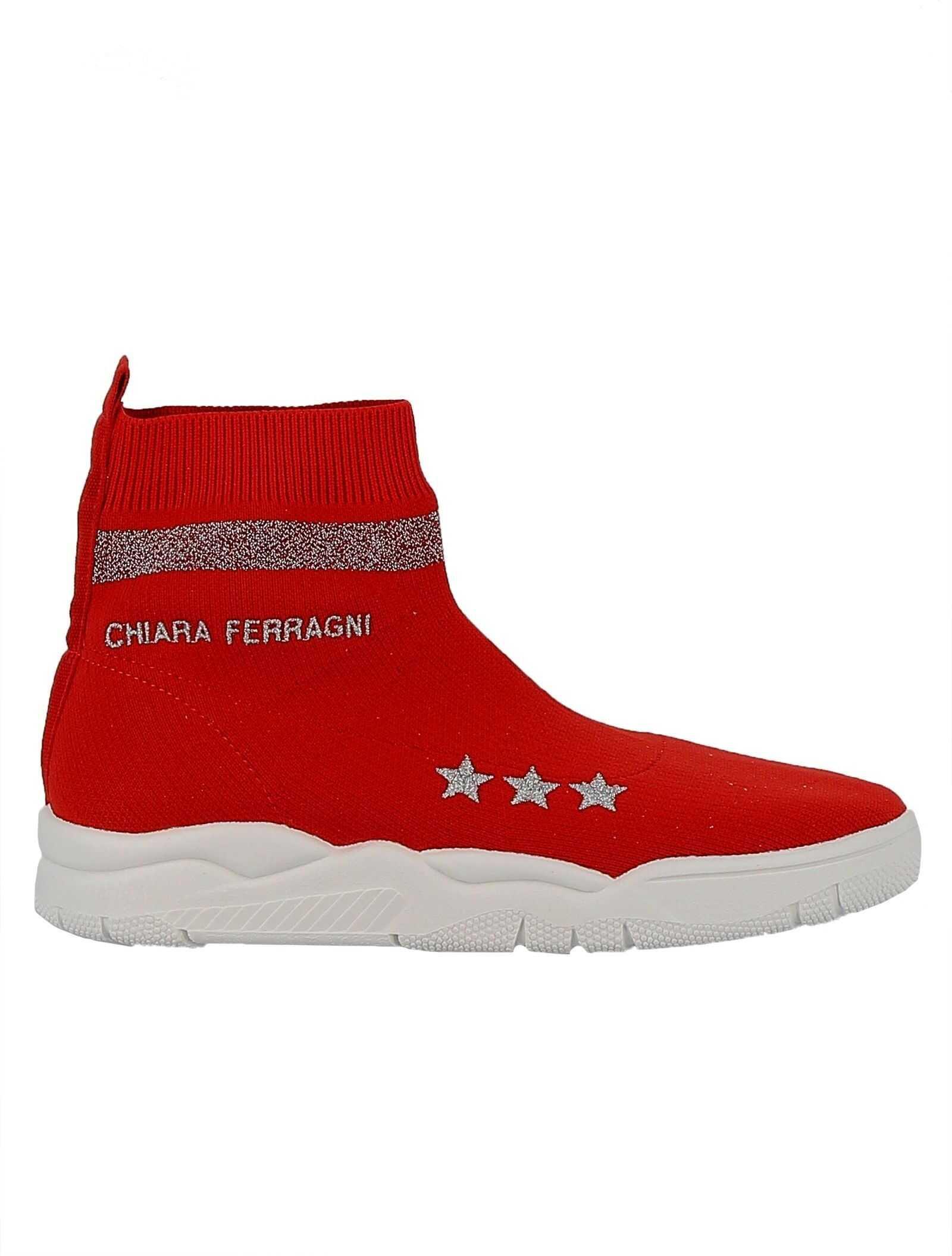 Chiara Ferragni Fabric Ankle Boots RED