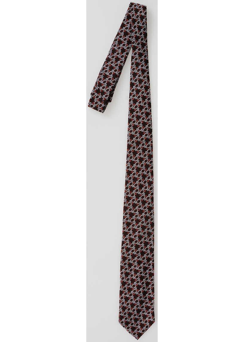 Piombo Silk Pattern Tie WHITE