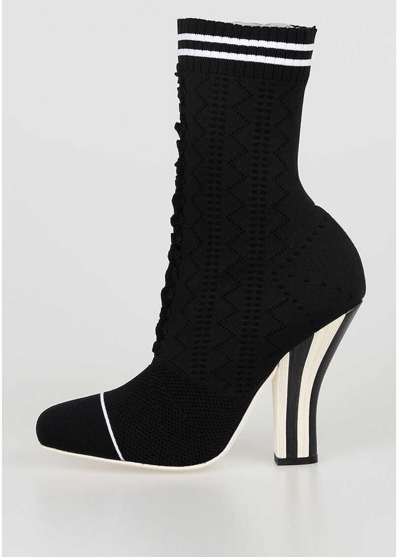 Fendi 11cm Stretchy Sock Boots BLACK
