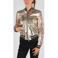Geci de Piele Silver Tone Leather Jacket Femei