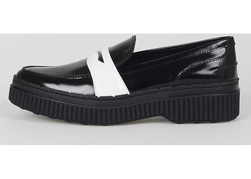 TOD'S Two Tone Leather Loafers BLACK & WHITE