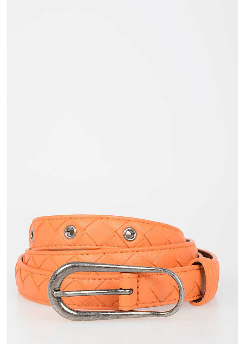 Bottega Veneta Leather Belt 2 CM ORANGE