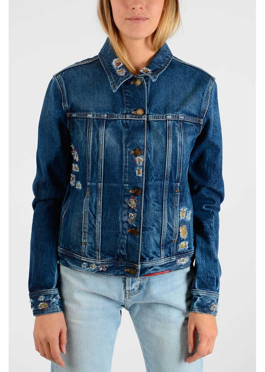Saint Laurent Denim Embroidered Jacket BLUE