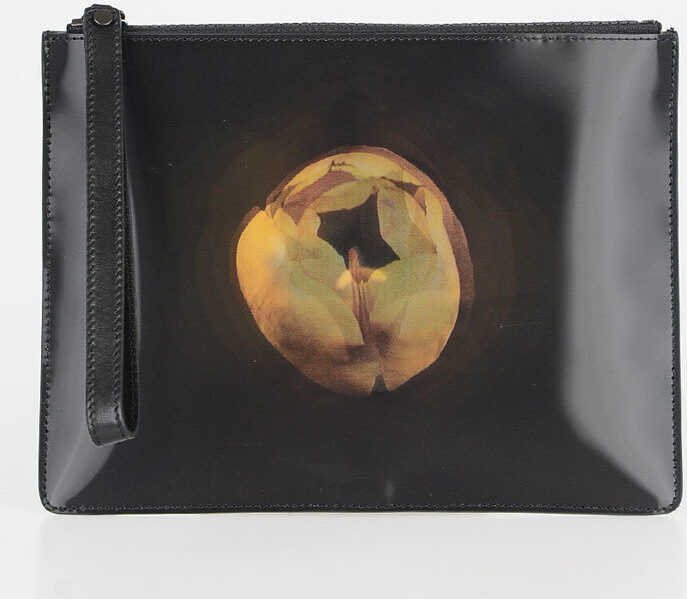 Christopher Kane Leather TULIP Pouch with Wristband BLACK