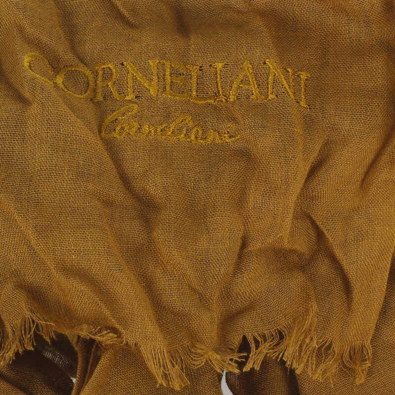 CORNELIANI Long Plain Scarf with Fringes 190 x 70 cm YELLOW