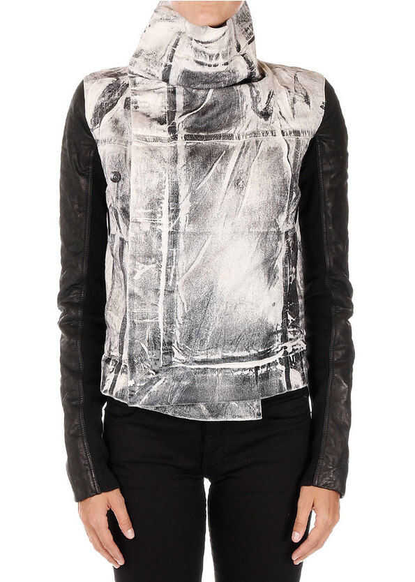 Rick Owens DRKSHDW Denim Jacket with Details in Leather N/A