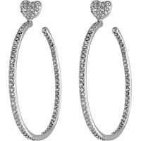 Cercei Betsey Johnson Hoop Crystal Heart Gold Medium Hoop Earrings