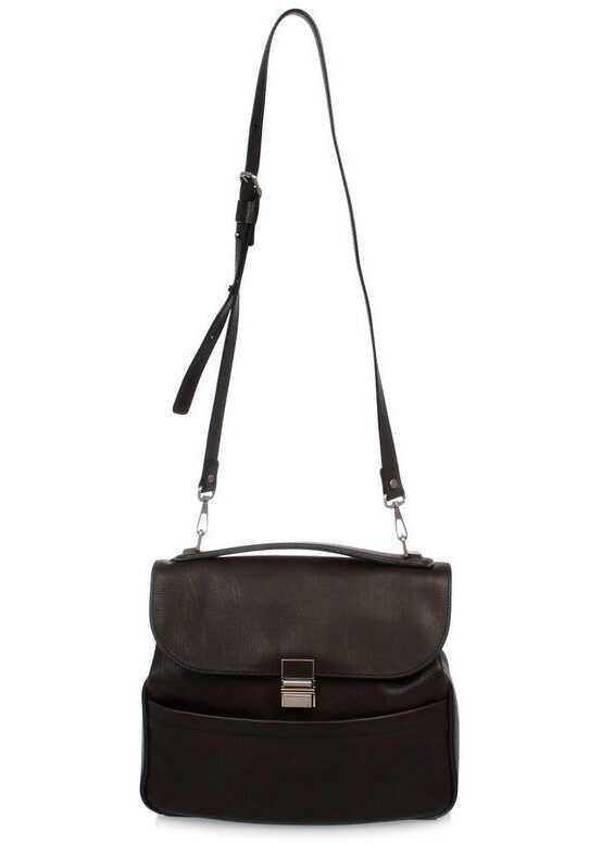 Proenza Schouler Leather KENT Shoulder Bag with Removable Strap BROWN imagine b-mall.ro