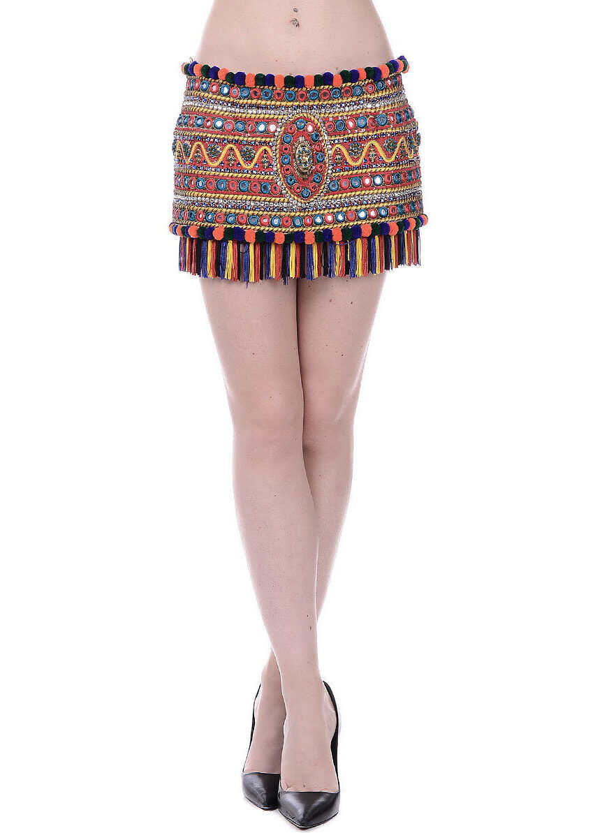 Dolce & Gabbana Embroidered Mini Skirt with Jewel Details MULTICOLOR
