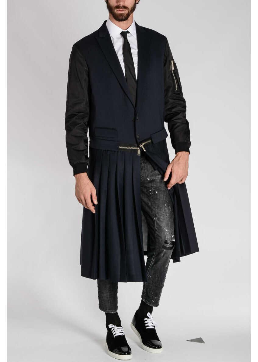 DSQUARED2 Stretch Virgin Wool Coat BLUE