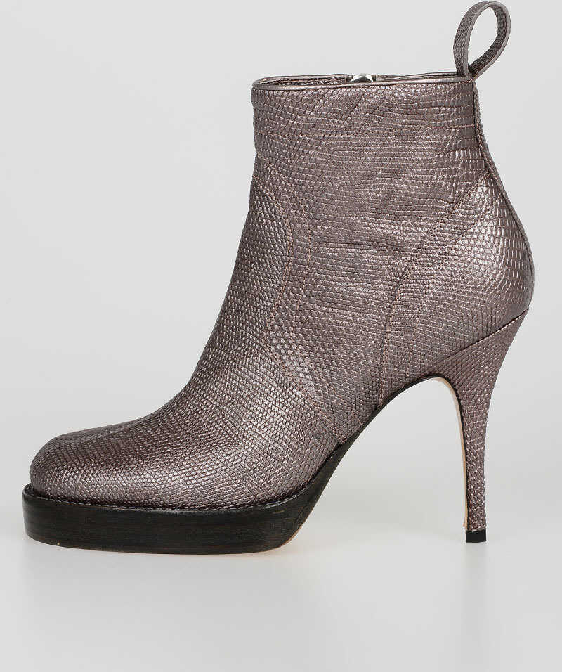 Rick Owens Lizard Skin Ankle Boots VIOLET