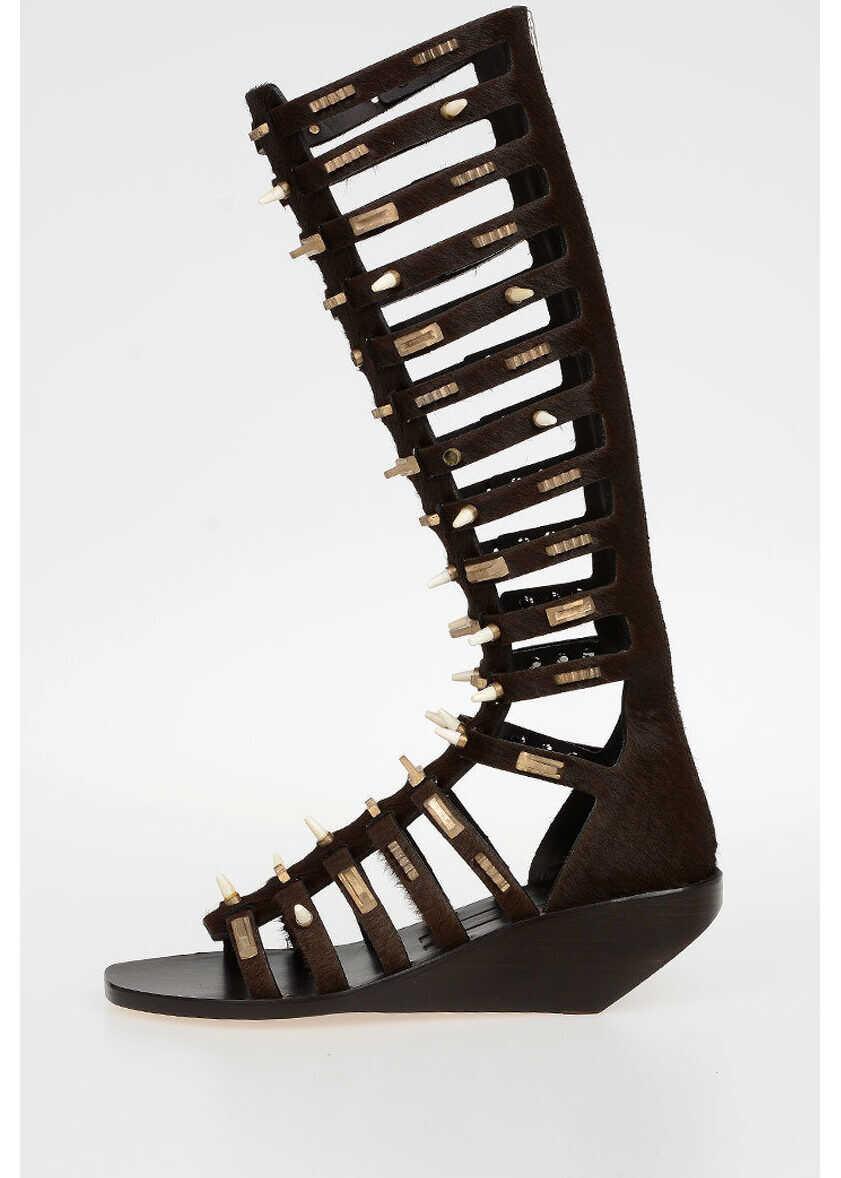 Rick Owens 5 cm Ponyskin ALLOVER STUDDED HIGH Sandals DARKDUST BROWN imagine b-mall.ro