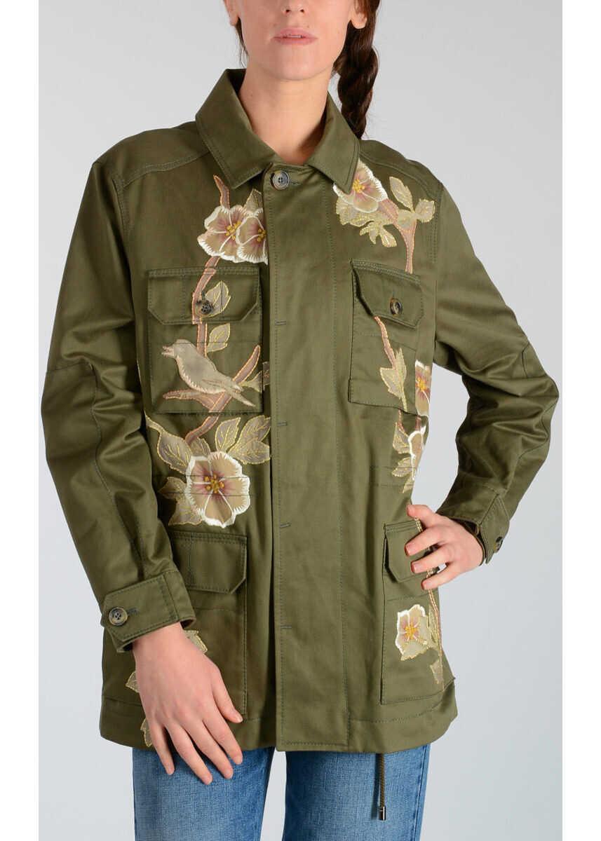 Valentino Garavani Cotton Jacket with Silk Embroideries GREEN