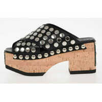 Platforme Alexander McQueen MCQ Leather Studded cork Wedge PALOMA Shoes