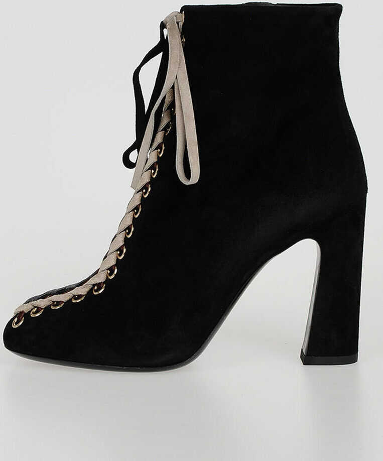 Roger Vivier Suede TRESSAGE CHUNKY Booties N/A
