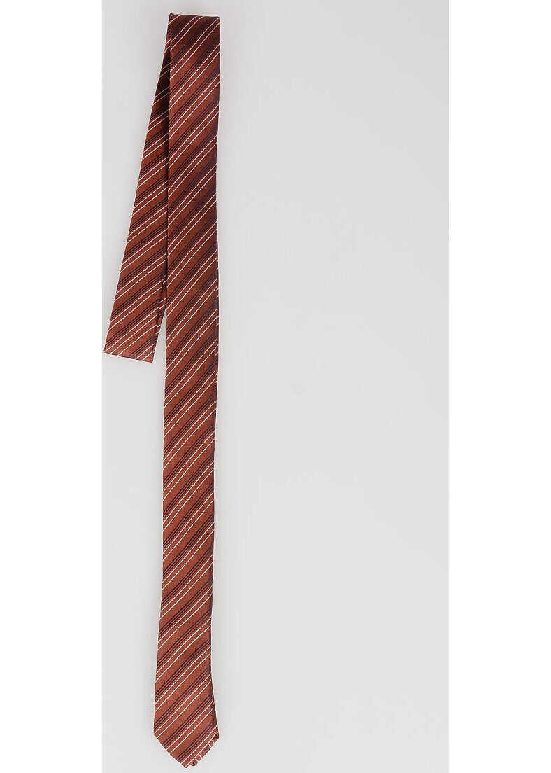 CORNELIANI CC COLLECTION Striped print silk Tie BROWN
