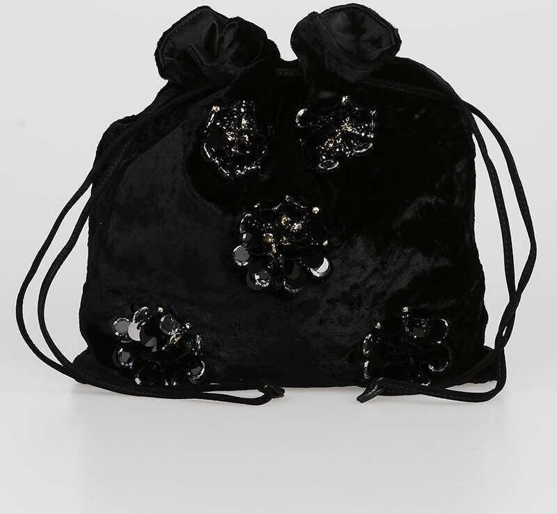 Miu Miu Embroidered Velvet Handbag BLACK