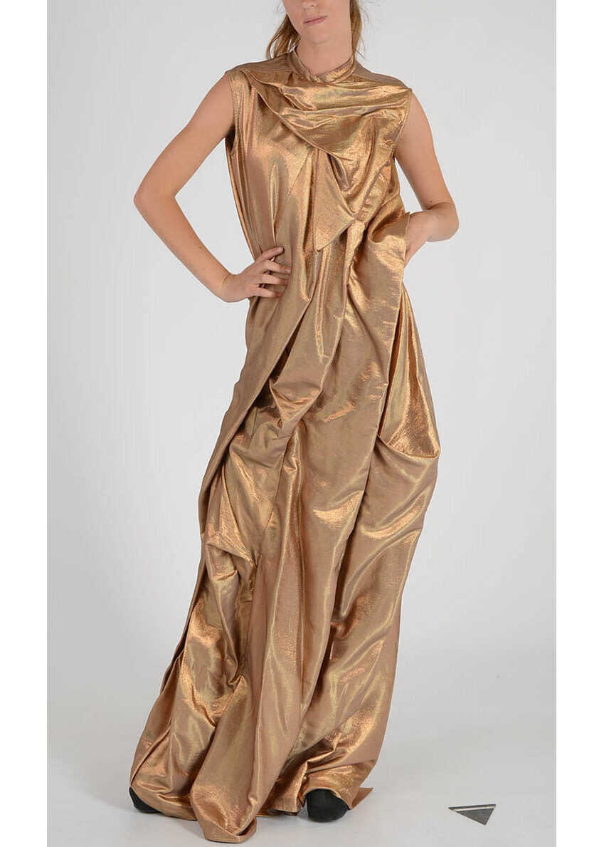 Rick Owens Long Dress With Pleat Gold image0