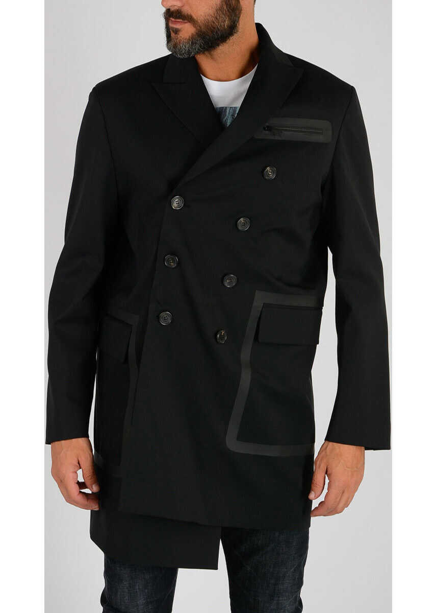 DSQUARED2 Asymmetrical Double Breasted Coat BLACK