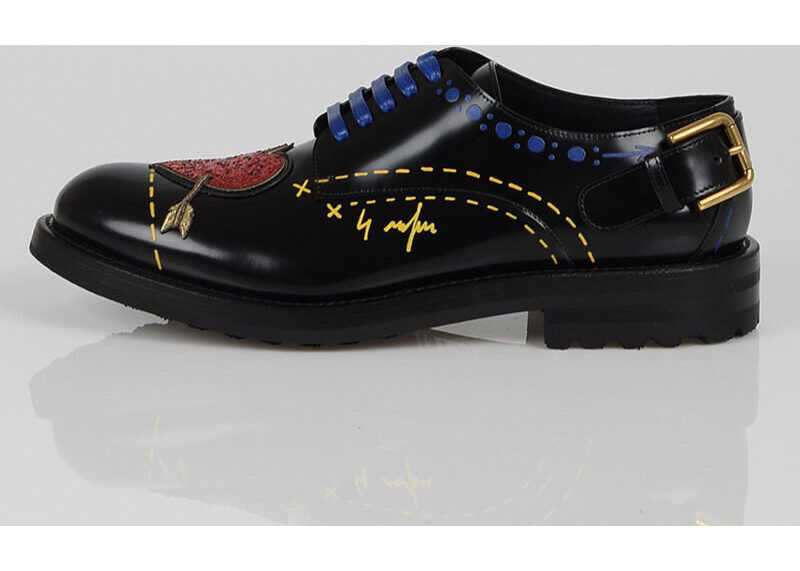 Dolce & Gabbana Leather Embroidered Laced Shoes BLACK