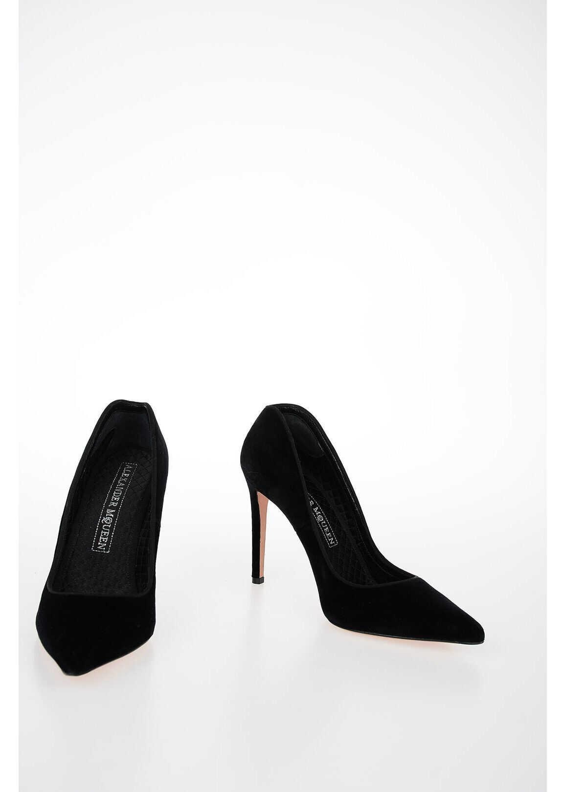 Alexander McQueen 11cm Velvet Pumps BLACK