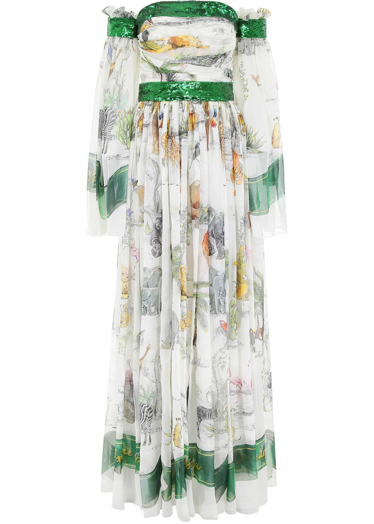 Dolce & Gabbana Printed Maxi Dress SAVANA FDO PANNA