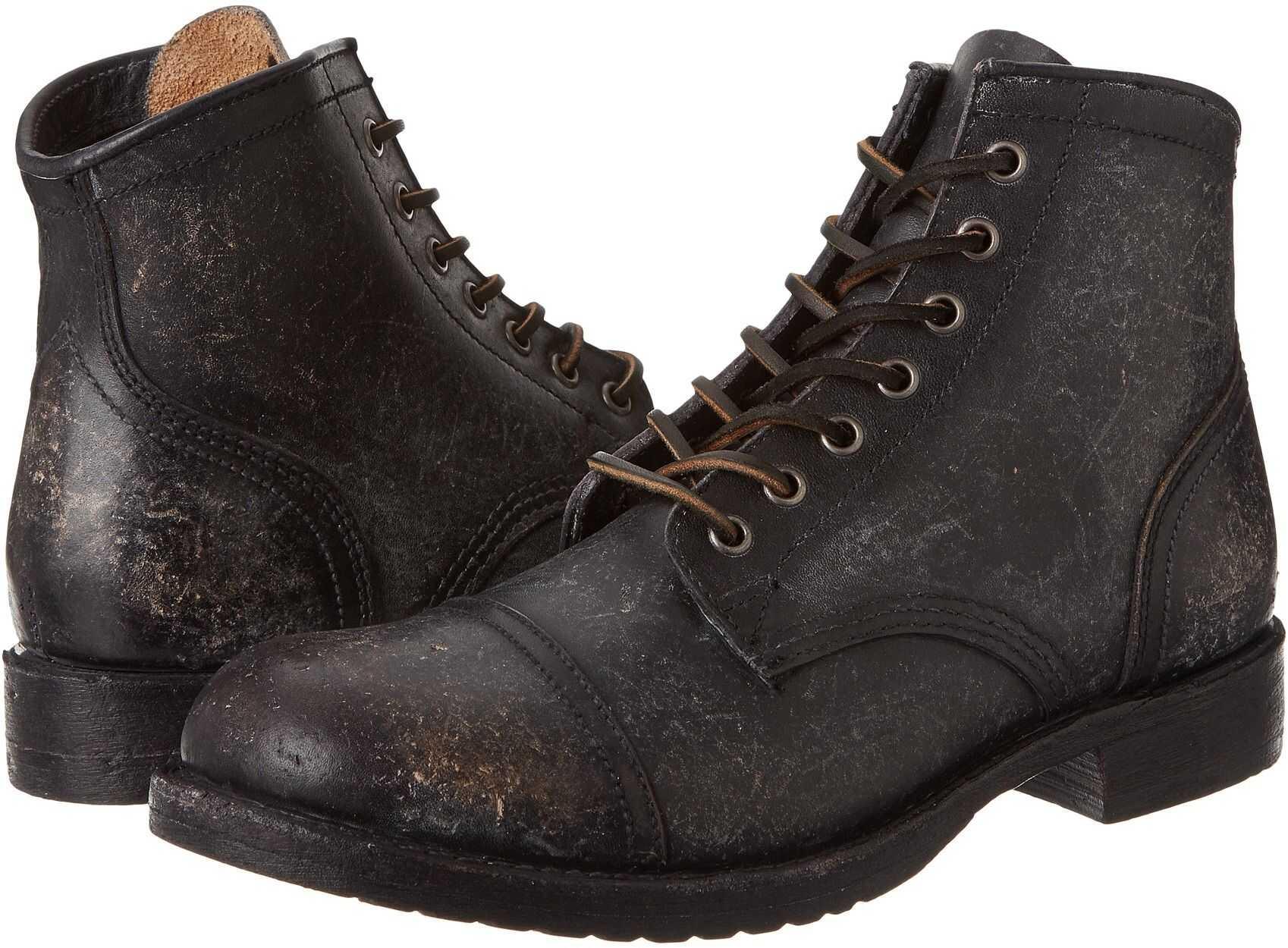 Frye Logan Cap Toe Black Polished Stonewash