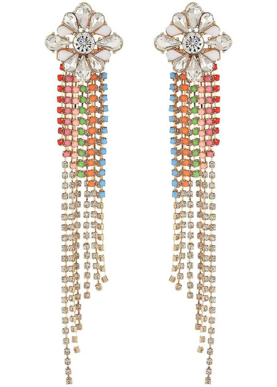 Steve Madden Floral Slant Chandelier Earrings Gold/Red/Silver