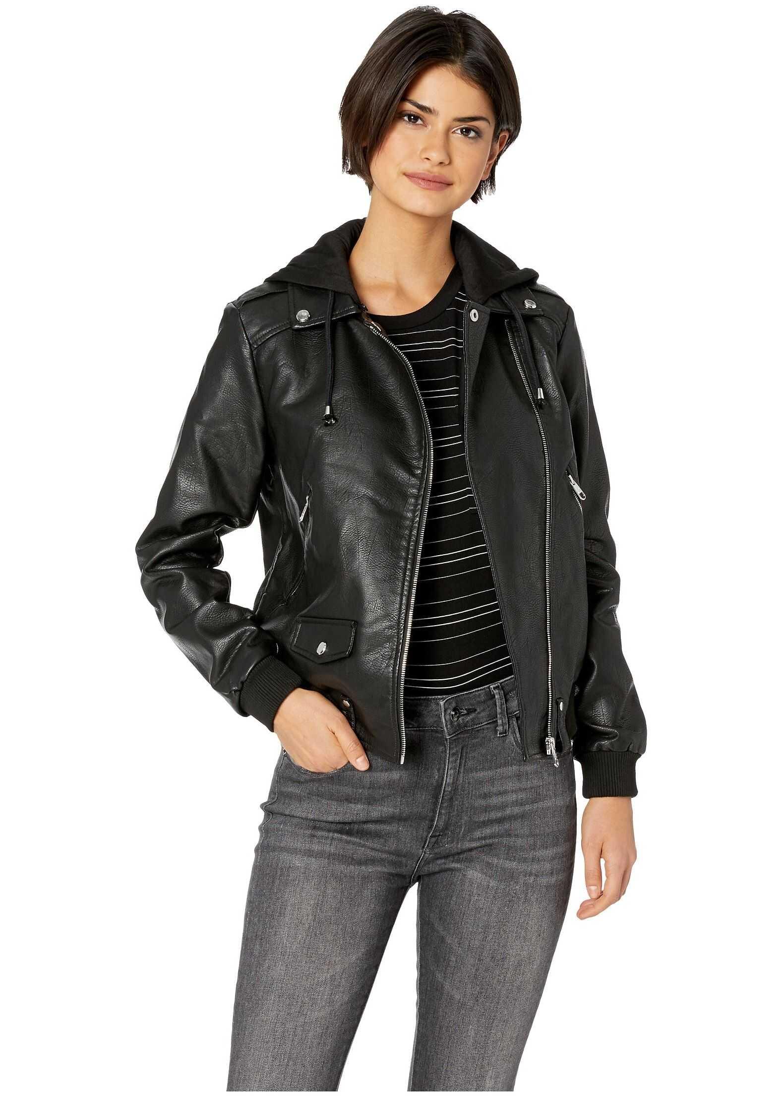 Steve Madden Pu Moto Jacket Black
