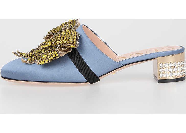 Gucci 4cm Jewel Heel Sabot BLUE