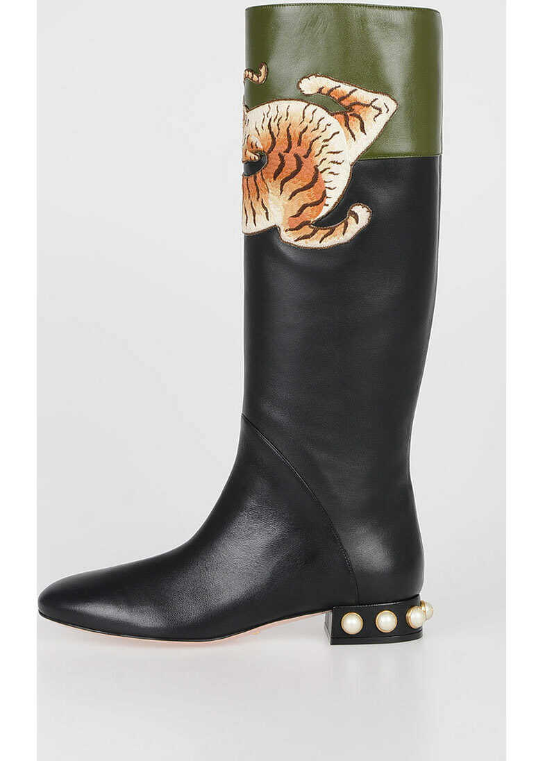 Gucci Tiger Embroidered Boots with Pearl N/A