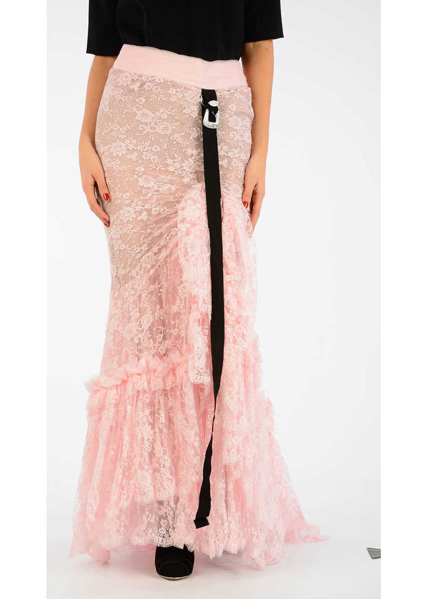 DSQUARED2 Lace Long Skirt PINK