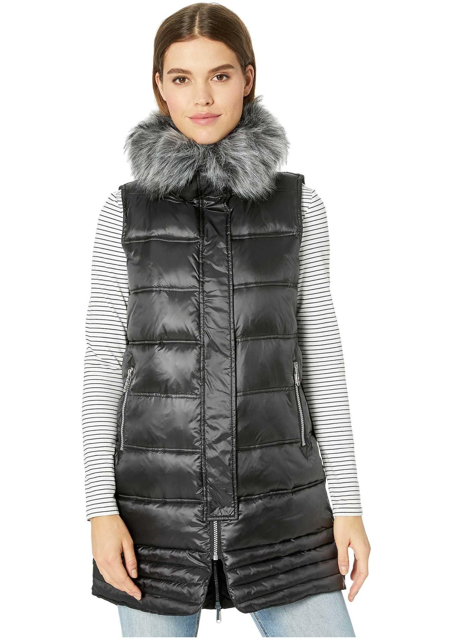 Sam Edelman Faux Fur Puffer Vest Black
