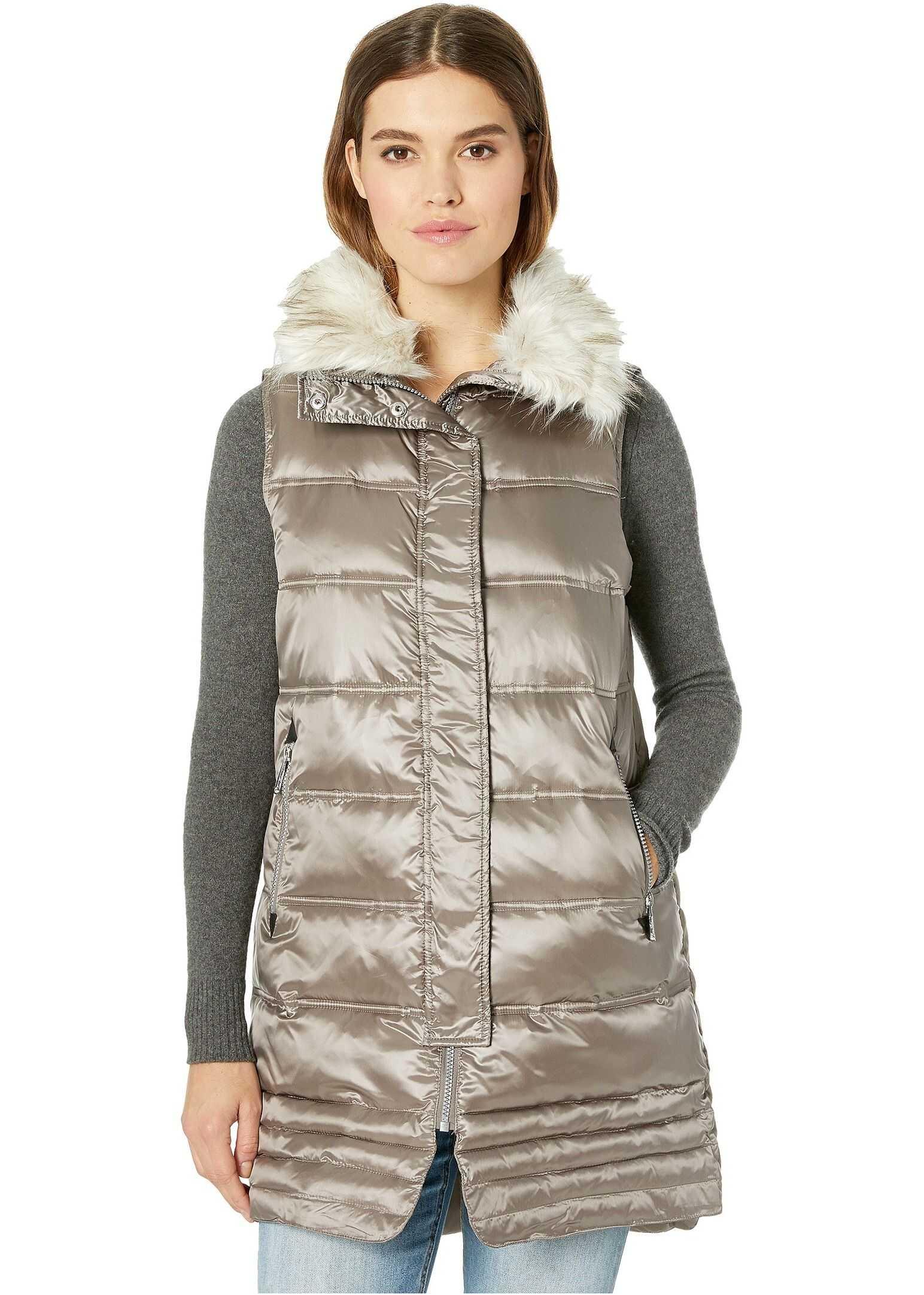 Sam Edelman Faux Fur Puffer Vest Toffee