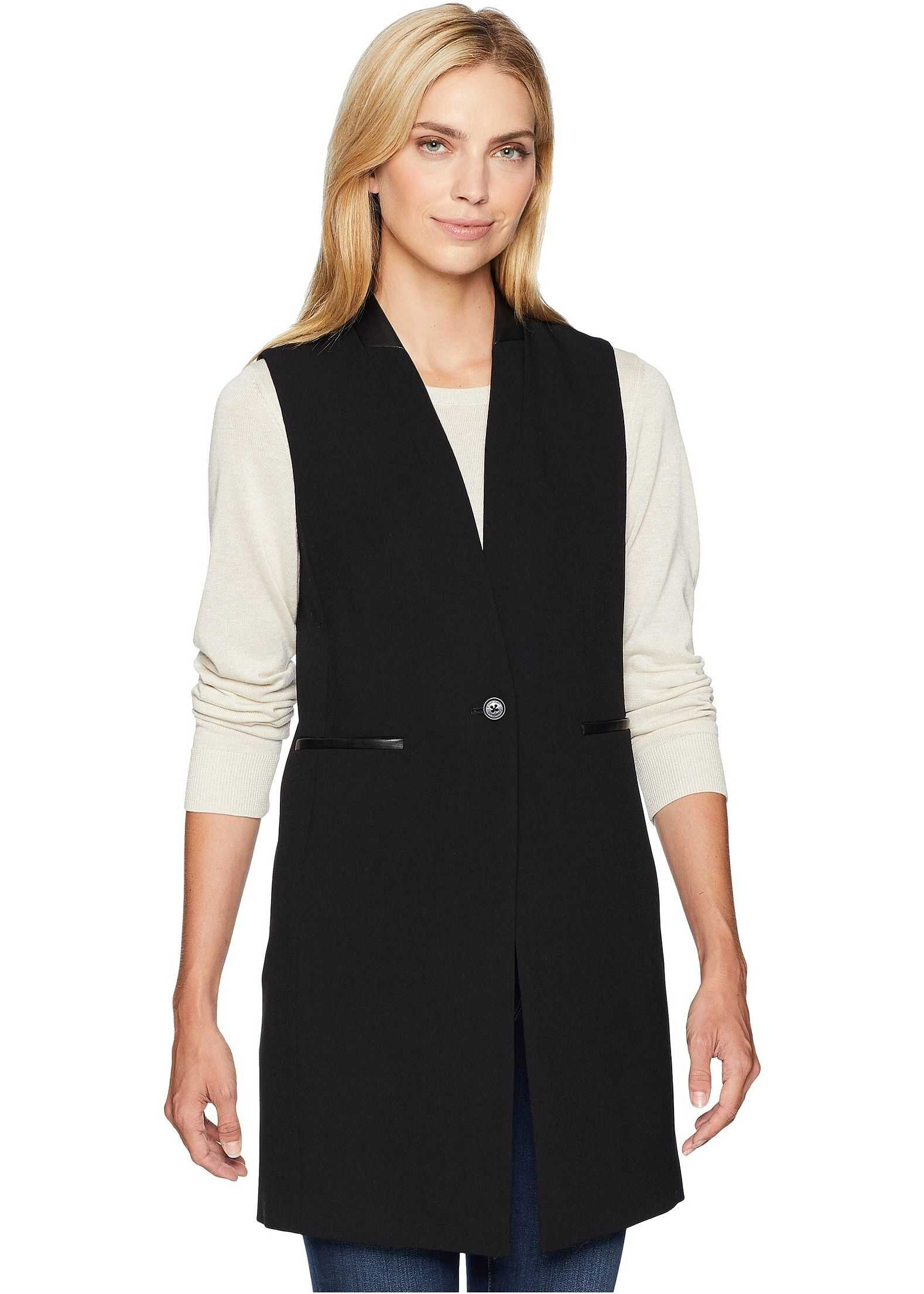 Calvin Klein Lux One-Button Vest with Faux Leather Black