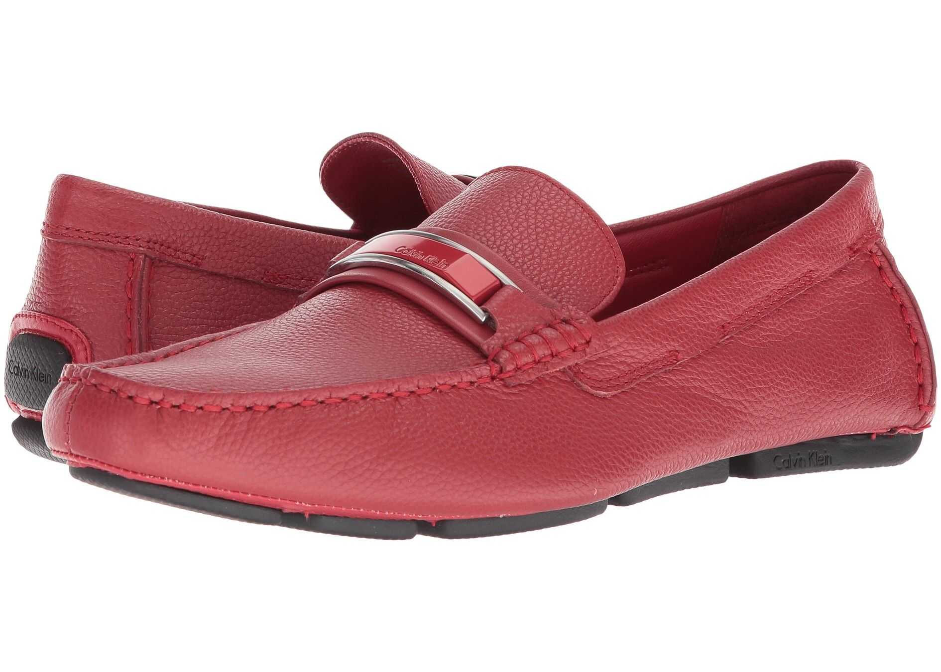 Calvin Klein Madsen Brick Red Embossed Tumbled