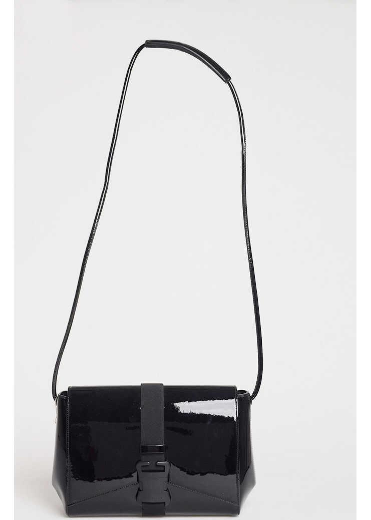 Christopher Kane Patent Leather SAFETY BUCKLEShoulder Bag BLACK