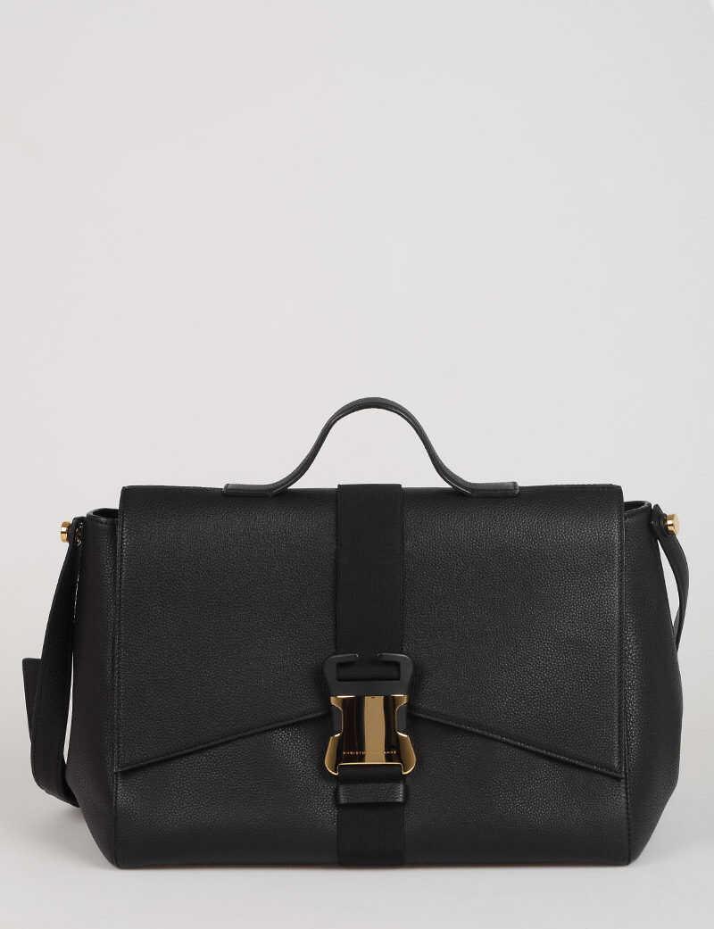 Christopher Kane Textured Leather SAFETY BUCKLE Shoulder Bag BLACK