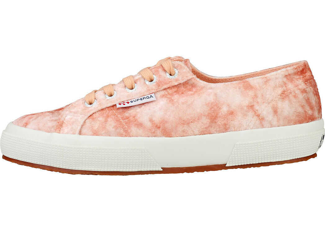 Superga 2750 Velvet Shiny Wrinkled Trainers In Pink Peach Pink