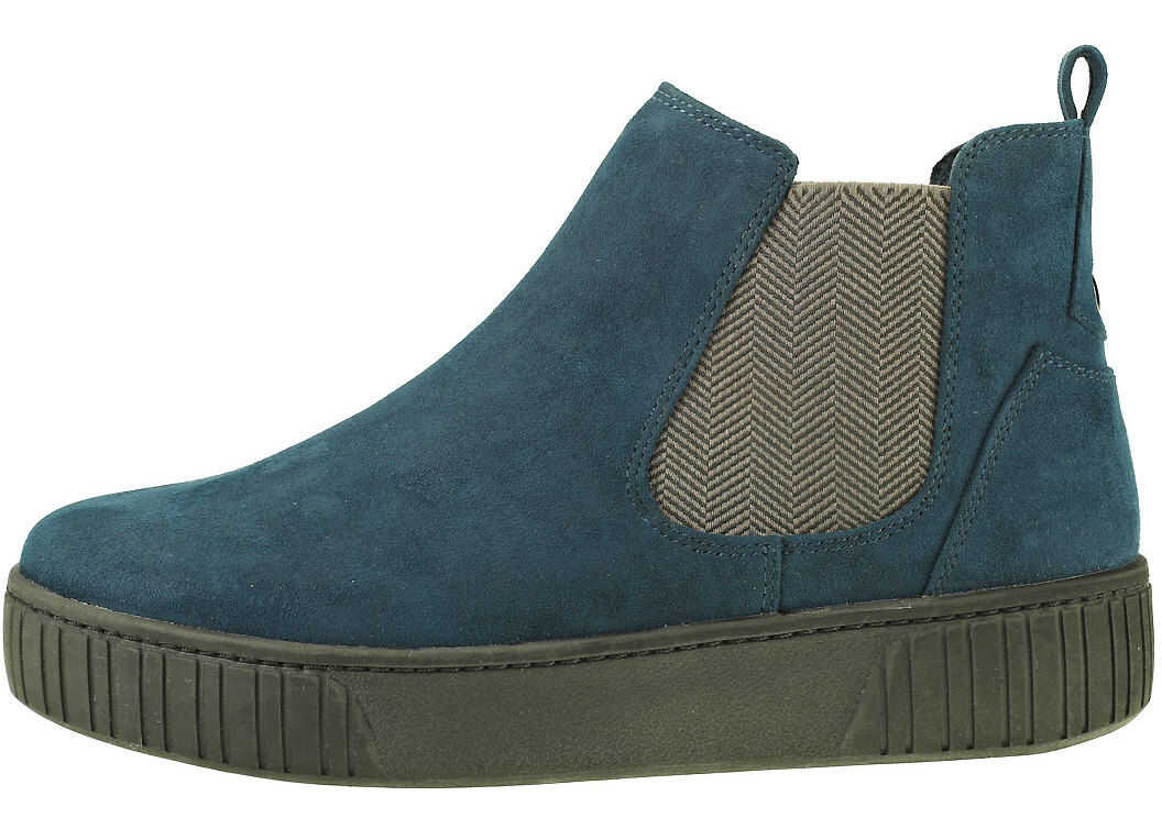 Marco Tozzi Platform Elasticated Boot Chelsea Boots In Navy Blue