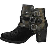Ghete & Cizme Three Studded Buckle Straps Ankle Boots In Black Femei