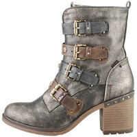 Ghete & Cizme Multi Buckle Heeled Ankle Boots In Bronze Femei