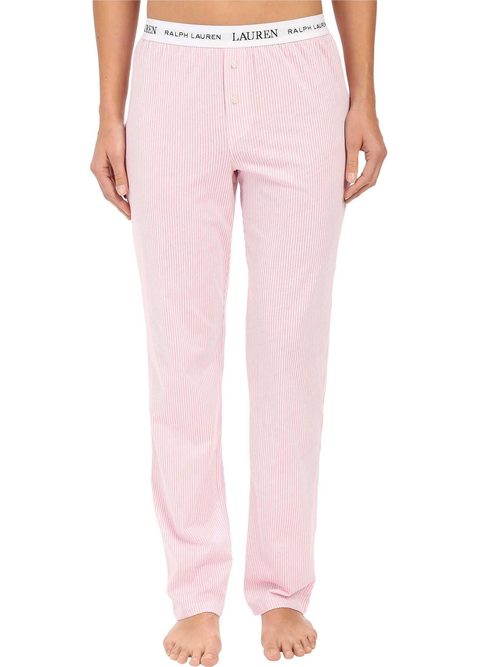 Ralph Lauren Pants w/ Logo Elastic Stripe Pale Pink/White