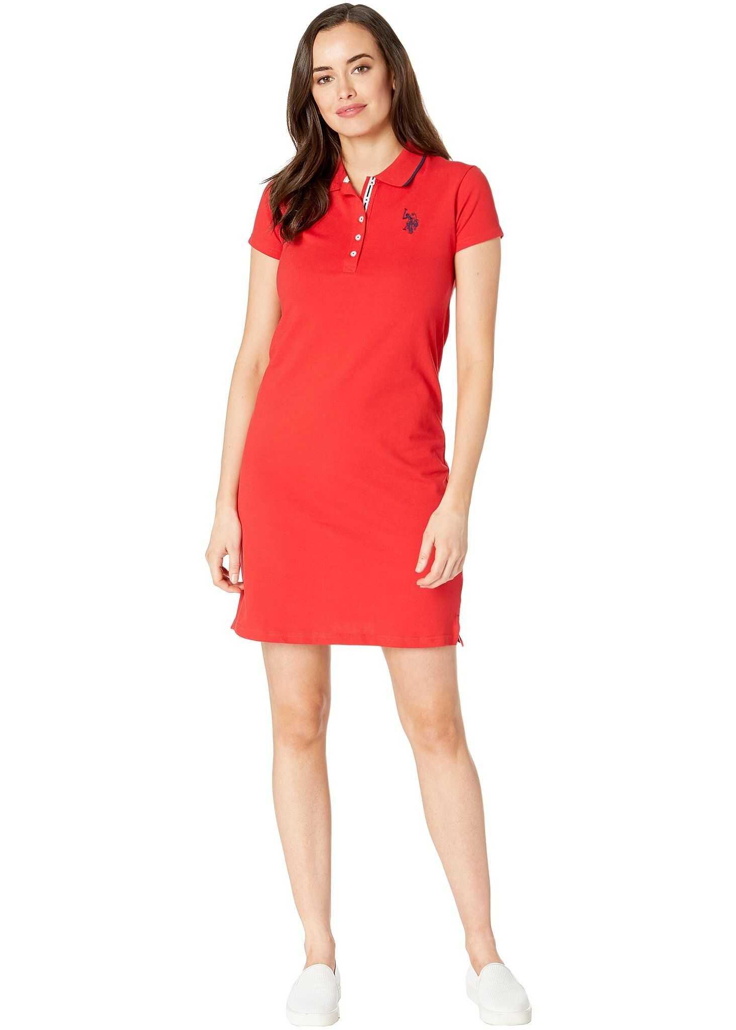 U.S. POLO ASSN. Plain Polo Dress Racing Red