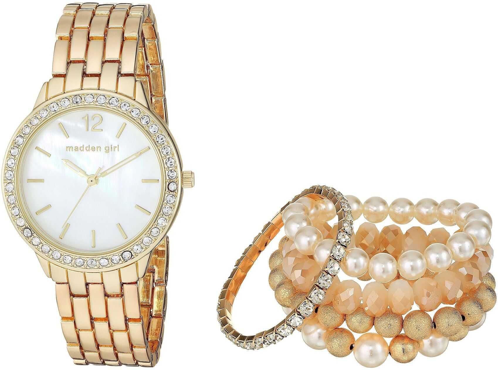 Steve Madden Madden Girl Watch with Stretch Bracelet Set SMGS018 Gold